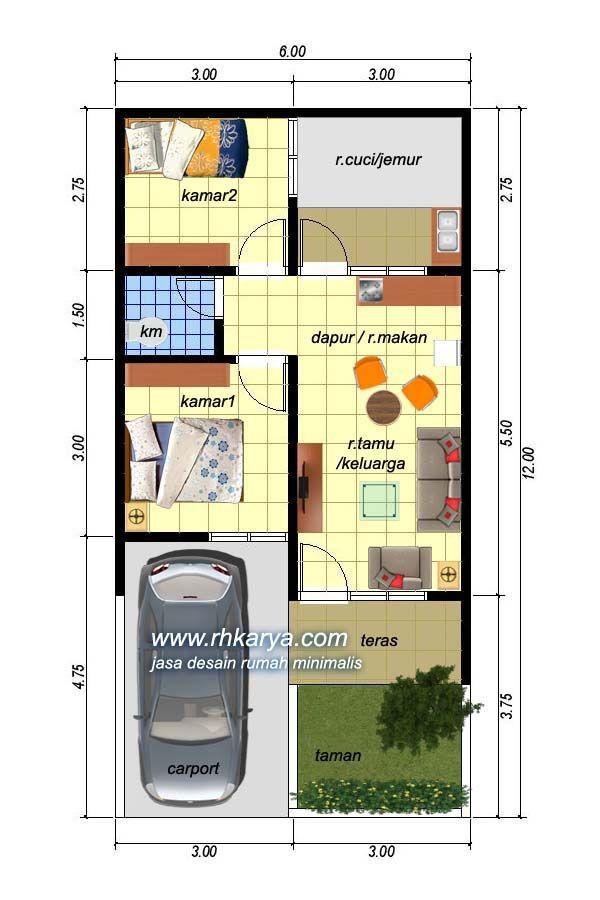 Desain Rumah Minimalis 6x12 di 2020 Denah rumah Rumah