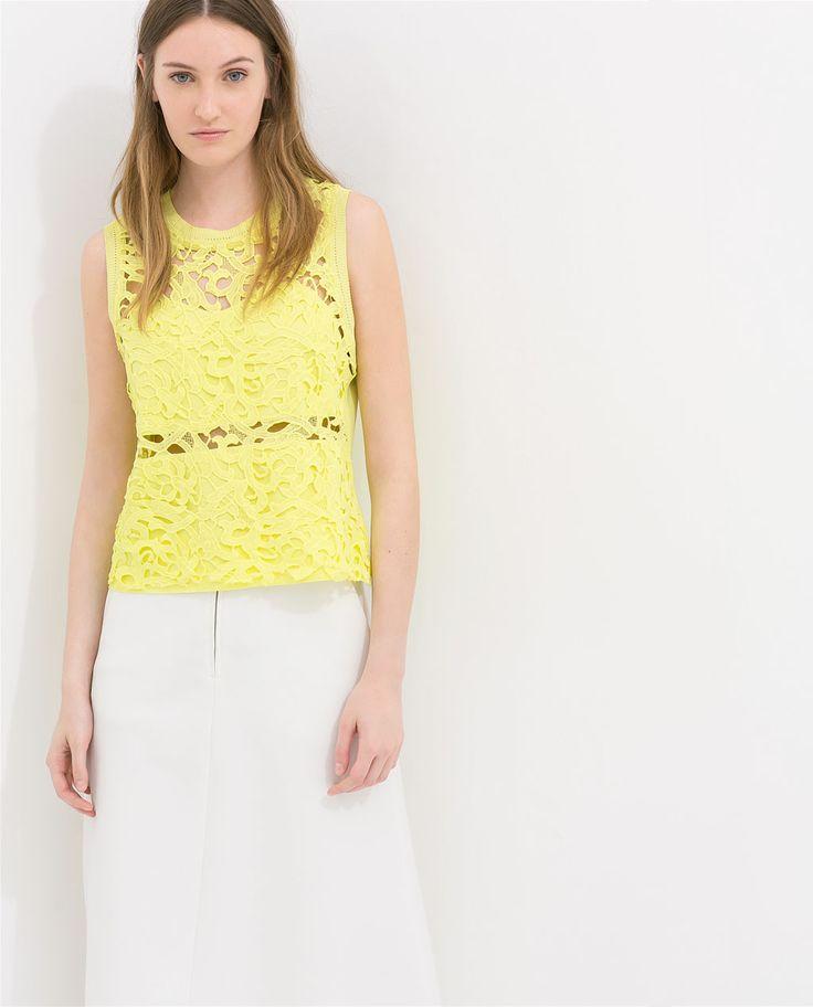 Image 1 of GUIPURE T-SHIRT from Zara
