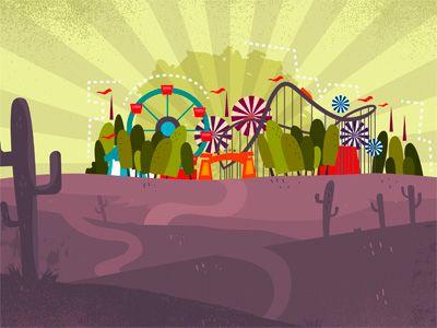 park, amusement park, carnival, rollercoaster, environment game, app, background, illustration
