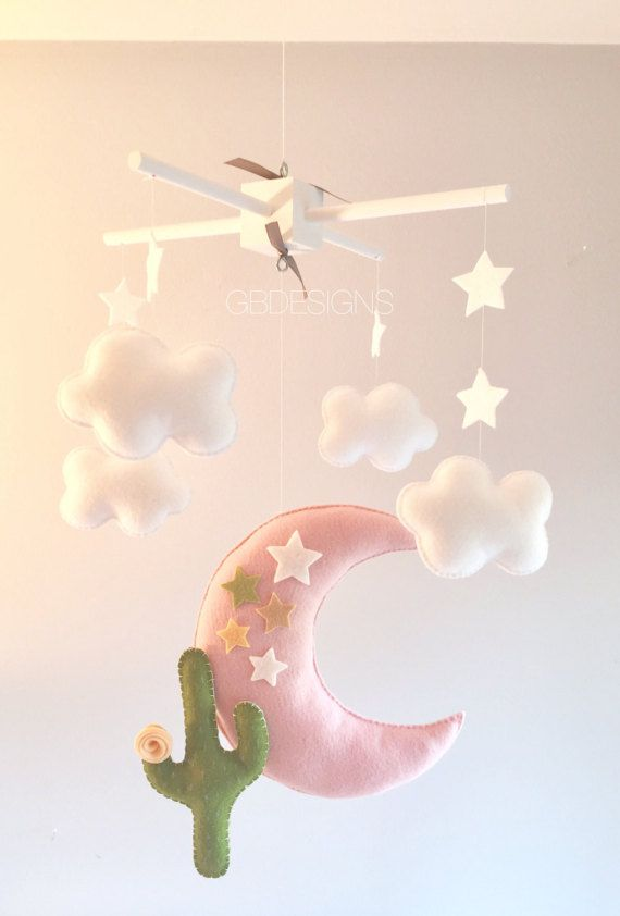 Baby mobile - Moon mobile - desert mobile - Stars and clouds mobile - cactus mobile - clouds mobile