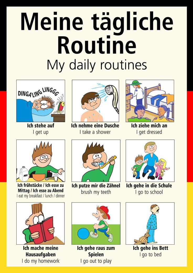 A3 German poster teaching aid / classroom resources - My daily routines/Meine tägliche Routine (Supplied folded to A4, NOT laminated): Amazon.co.uk: Office Products
