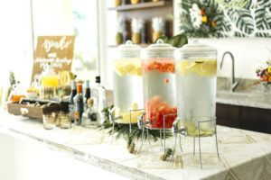 "Beverage dispensers from a Modern Tropical ""Cheers to Sixty"" Birthday Party on Kara's Party Ideas 