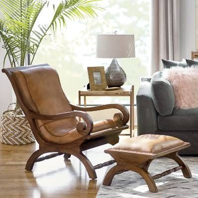 Curl Up With A Good Book The Timeless Form And Endless Comfort Of The Leather And Teak Augusto Chair And Match Chair And Ottoman Furniture Living Room Designs