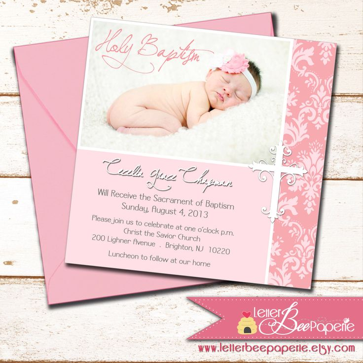 Girl Baptism Invitation - DIY Printable Invite - Photo Invitations - Christening, First Communion, Dedication, Baby Blessing - Choose Colors by LetterBeePaperie on Etsy https://www.etsy.com/listing/176853523/girl-baptism-invitation-diy-printable