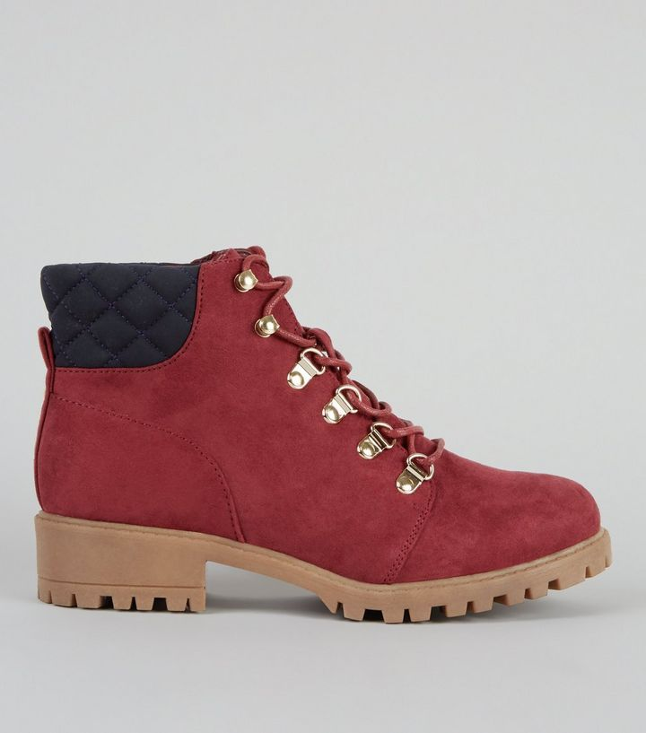 Teens Red Suedette Lace Up Worker Boots   New Look