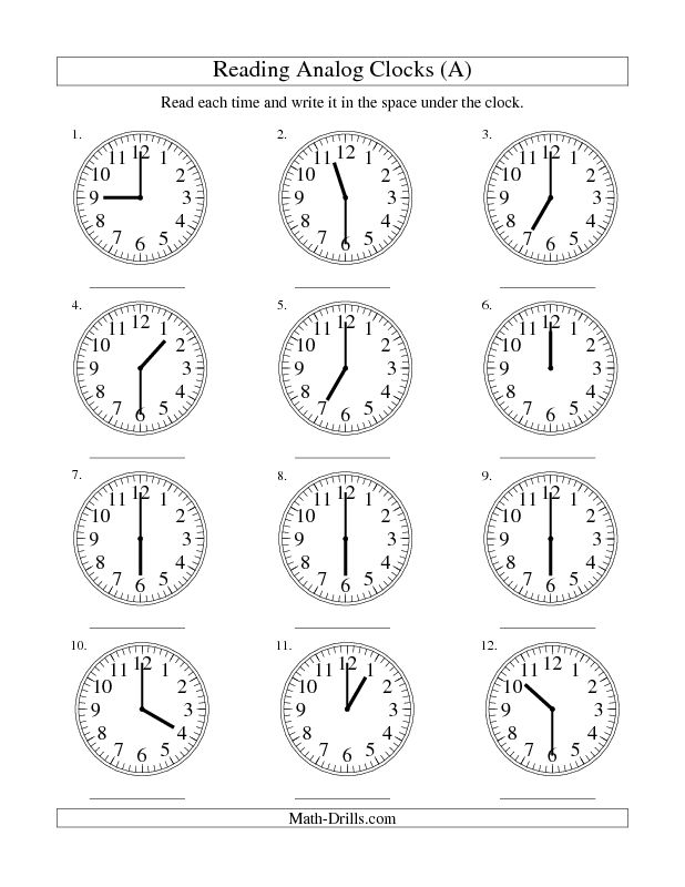 Measurement Worksheet -- Reading Time on an Analog Clock in 30 Minute Intervals (A)