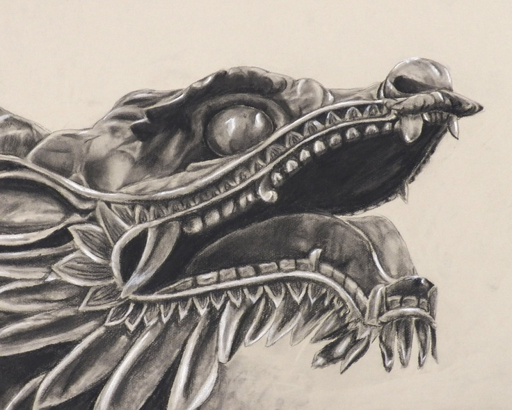 still life from my drawing class. drawn from a dragon sculpture.