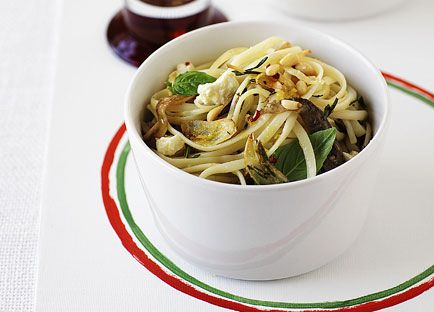 Linguine with fried eggplant and caciotta