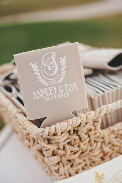 Wedding favor idea - personalzied koozies with nature motif {Woodland Fields Photography}