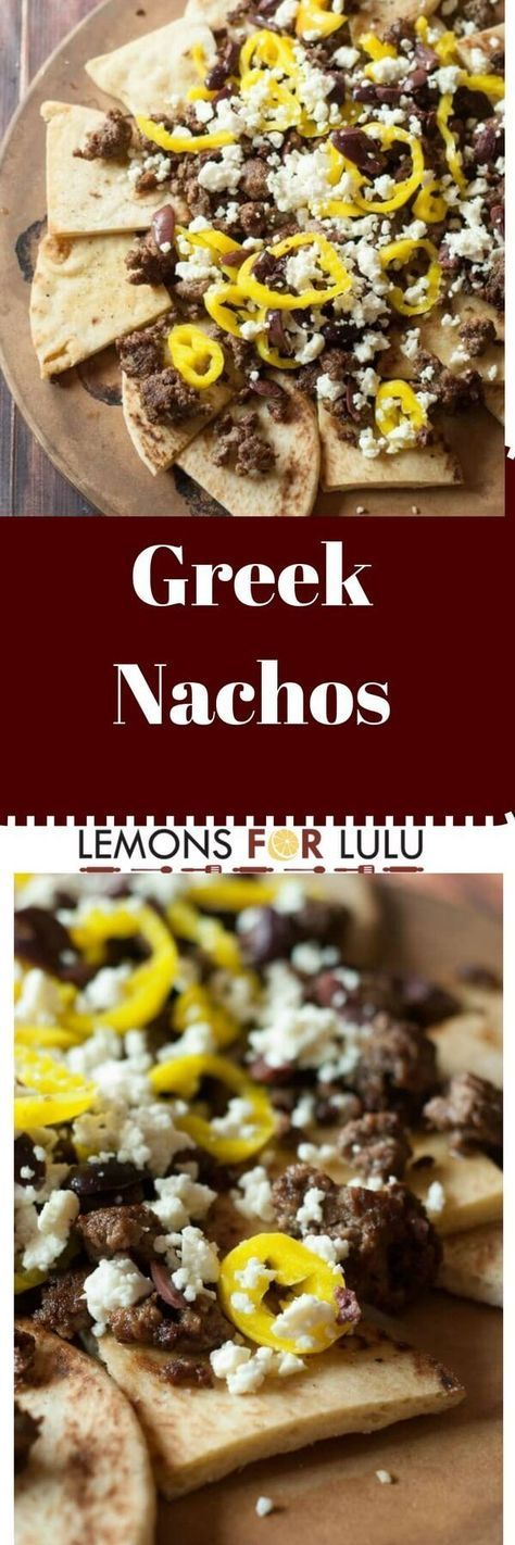 Pita chips for the base in this nacho recipe.  Ground lamb, feta cheese and other Greek ingredients make these nachos the perfect party food!
