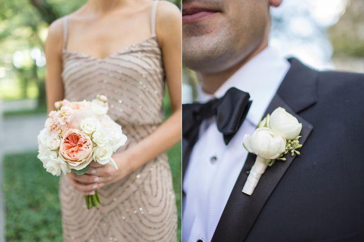 Cristina G Photography. Vale of Enna Flowers.  Art Institute. Bridesmaid Bouquet. Boutonniere. Garden Rose. Stock. Spray Rose. Ranunculus. White, Cream, and Peach. Chicago Wedding.