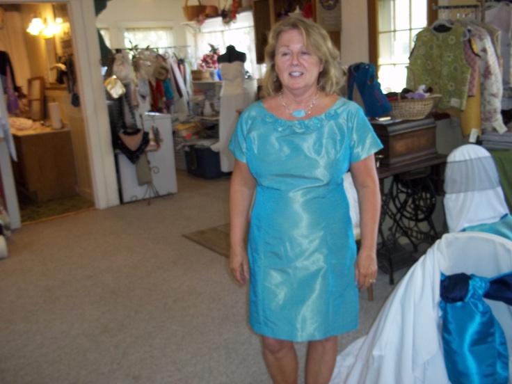 Aqua doupionni dress with handcrafted rose neckline  for Marie!