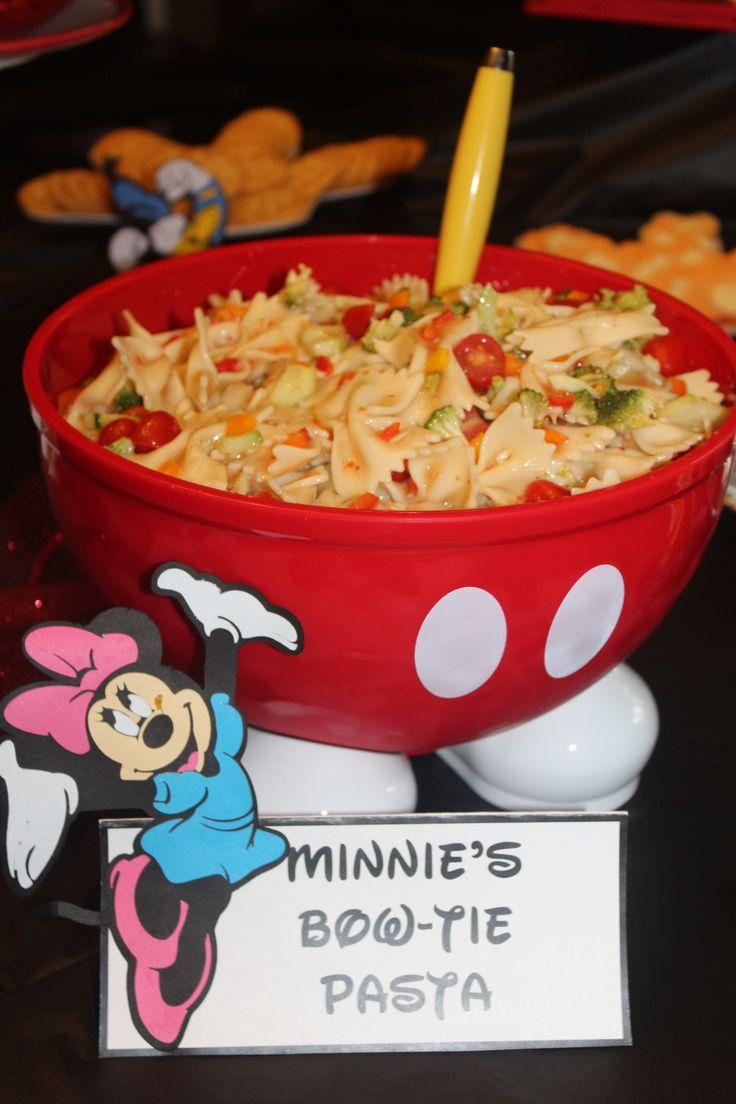 Minnie's Bow-Tie Pasta-Mickey Mouse birthday party!  I plan Disney trips, please follow me.  Courtney@travelwiththemagic.com