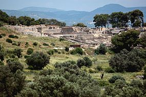 Bronze Age Phaestos viewed from south of the ridge  Crete, Greece