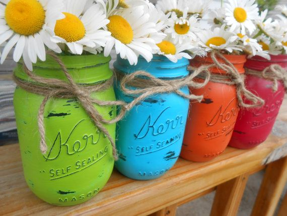 Mason Jars, Ball Jars, Painted Mason Jars, Flower Vases, Rustic Decor, Summer Mason Jars, Bright Colored Mason Jars on Etsy, $30.00