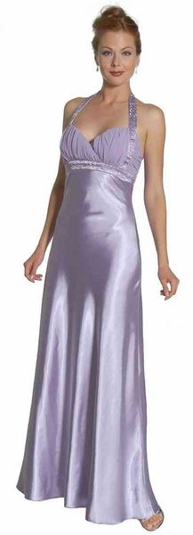 Plus Size Bridesmaid Dress Lilac Long Halter Satin Beads Cross Back $34.99