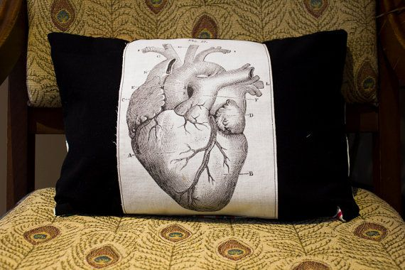 Pillow with vintage anatomical heart drawing