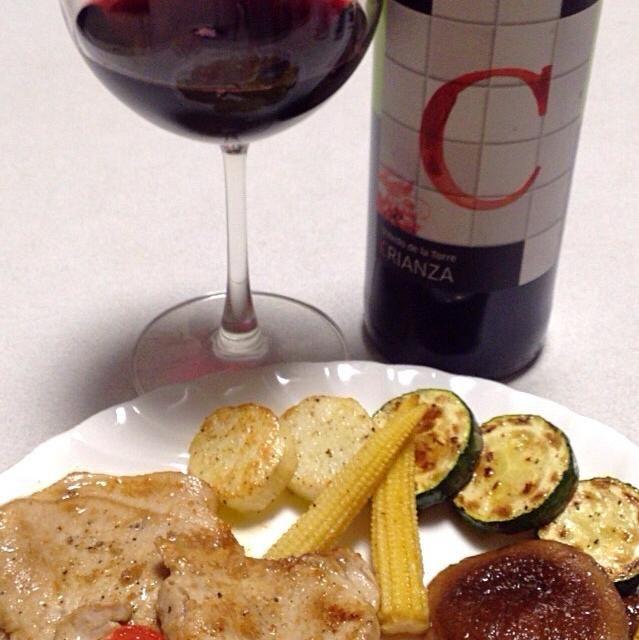 今日は、豚肉の生姜焼きと焼き野菜(ズッキーニ、山芋、ミニコーン、シイタケ)(^O^) - 40件のもぐもぐ - 今日のワインのアテ(*^^*) by Nory3754