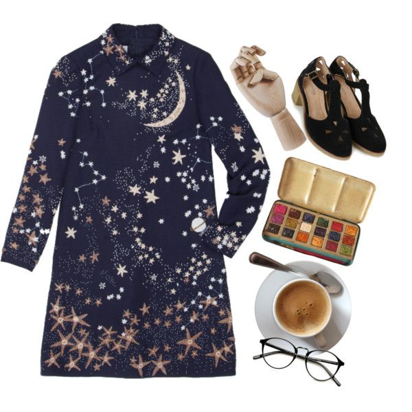 Starry Night by artsydeer on Polyvore featuring Valentino, Topshop, HAY, women's clothing, women's fashion, women, female, woman, misses and juniors