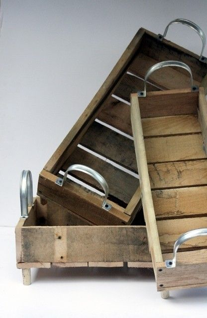 oh these trays - love the mix of sleek and weathered, modern and vintage