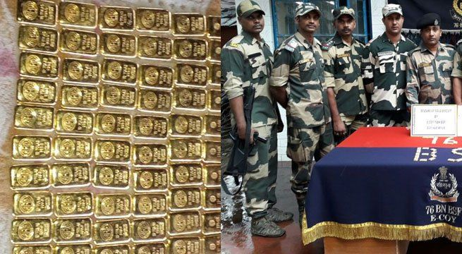 """Kolkata: In a major operation, the Border Security Force (BSF) on Thursday seized 60 gold biscuits in Hakimpur Border Outpost Area in Kolkata. Inspector General, BSF, South Bengal Frontier, said, """"Specific information was received regarding smuggling of gold. Following that, we planned and..."""