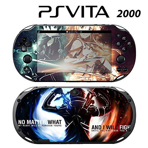 Skin Decal Cover Sticker for Sony PlayStation PS Vita Slim (PCH-2000) - SAO Sword Art Online  Fits Sony PS Vita (PCH-2000) only! Click the 2nd image from the left and save it as an matching wallpaper to complete the new look.  Skin set covers both the front and back of your Sony PS Vita.  Instantly makeover old ugly scratches and protects your Sony PS Vita from surface scratch.  Ultra thin weightless design engineered to give your PS Vita a fresh new look without weighing it down  Bubb...