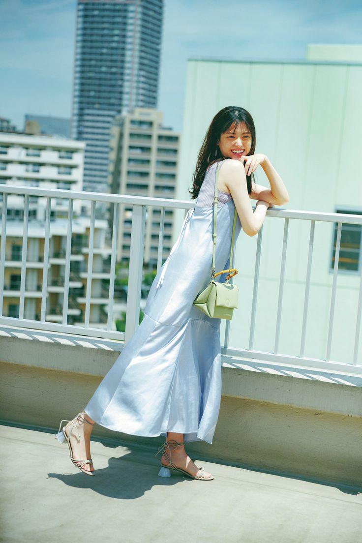 なれるものなら松村沙友理 エクリュにソルベカラー 透明感を作る優しげ配色コーデ cancam jp キャンキャン サマードレス マキシドレス ファッションアイデア
