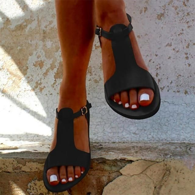 Women's Casual Soft Leather Sandals Gladiator Sandals Female Flat Sandals Zip Plus Size 35-44 Beach Shoes Women