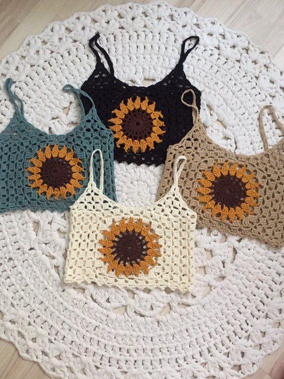Sunflower crochet top size M 38   Etsy