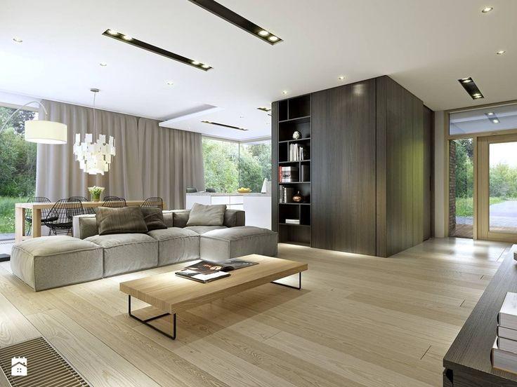 PARTEROWY 2 - nowoczesny dom z płaskim dachem - Duży salon z kuchnią z jadalnią, styl nowoczesny - zdjęcie od DOMY Z WIZJĄ -…