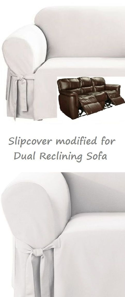 Reclining Sofa Slipcover White Cotton Adapted For Dual Recliner Couch
