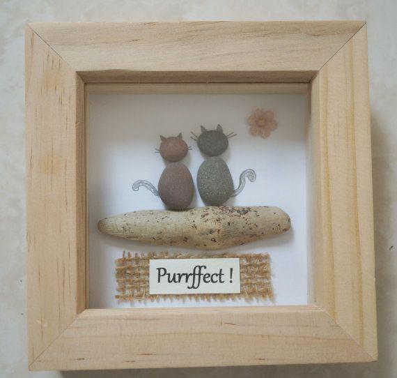 Pebble Art framed Picture Cats di Jewlls4u su Etsy