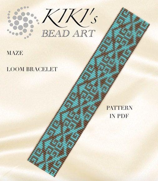 Bead loom pattern - Maze LOOM bracelet pattern in PDF - instant download
