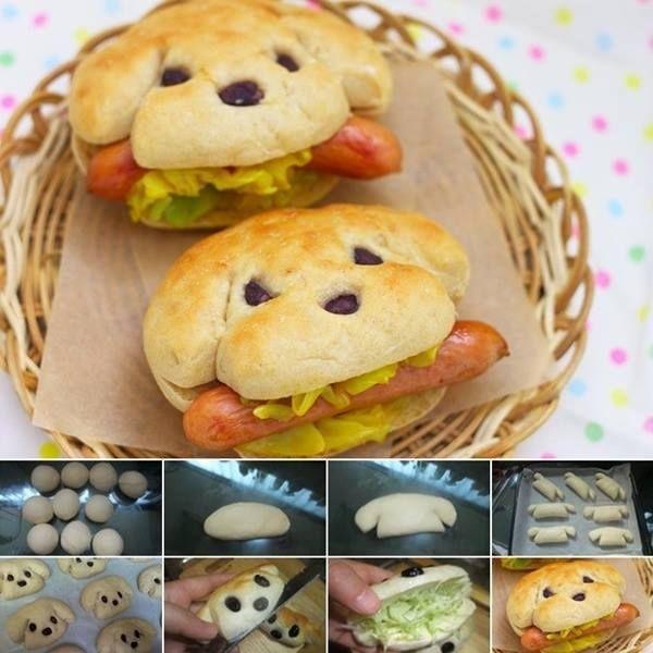 Sandwich con forma de perrito