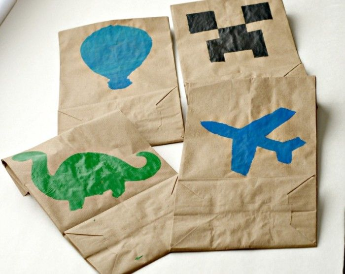 DIY Stenciled Lunch Bags for kids