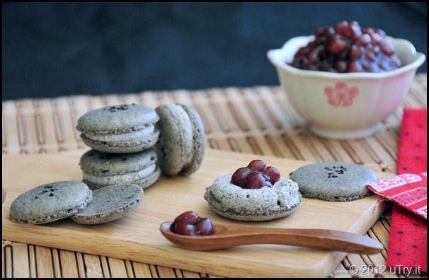 Black Sesame Macarons with Black Sesame Buttercream and Adzuki Beans
