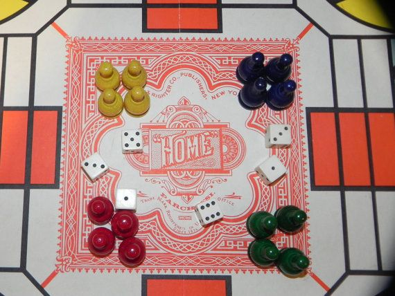 PARCHEESI Board Game Wooden Game Pieces by by baublesandblingforu, $12.00
