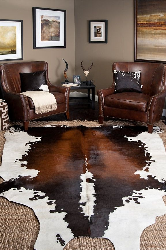 21 Masculine Rooms Interiorforlife.com Cow skin rug with jute ? Cowhide bought from IKEA