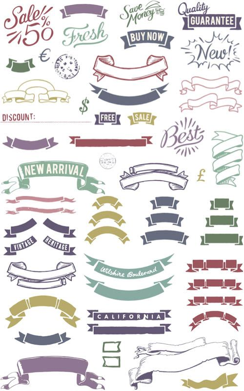 Colorful vintage ribbons vector   Vector Graphics & Vector Illustrations