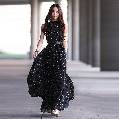 Plus Size Dot Chiffon Irregular Sleeveless Vest Loose Women Dress - USD $ 20.99