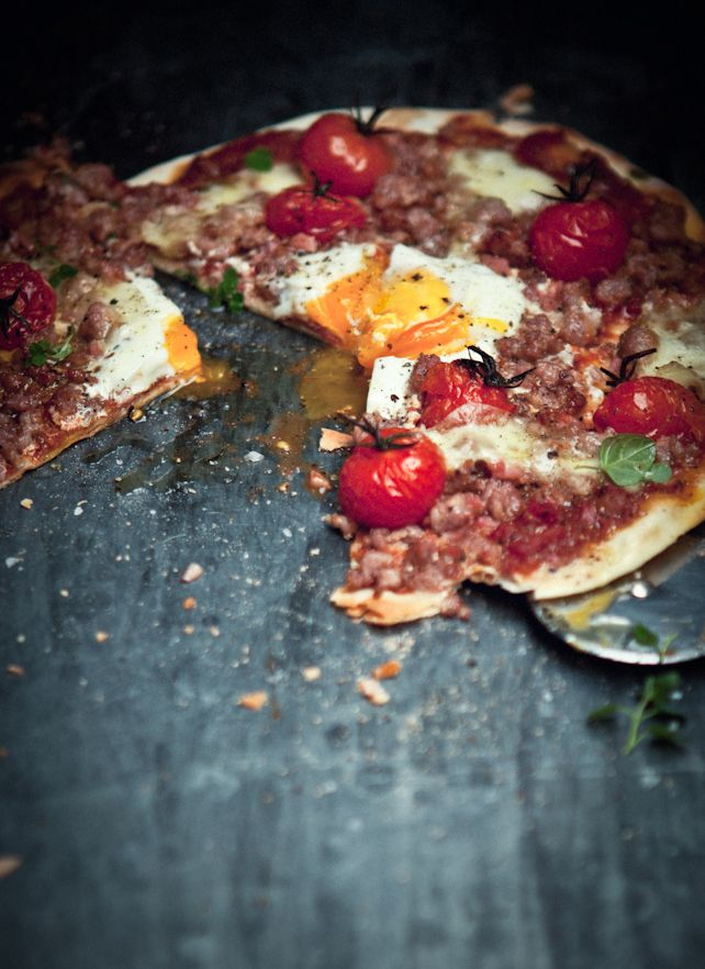 This weekend! Italian Sausage, Bacon, Roasted Tomato and Egg Pizza