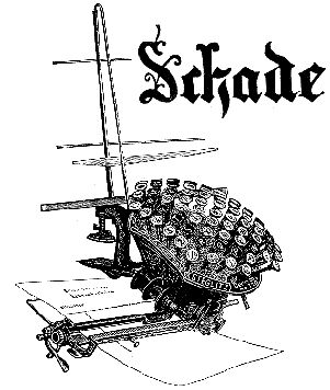 Rudolf Schade: The Schade of 1896 is another of the bizarre curiosities that abound in typewriter history. It is fundamentally the same as the Writing Ball invented by Danish pastor Malling Hansen, which was the first commercially produced typewriter (1870; picture at left).