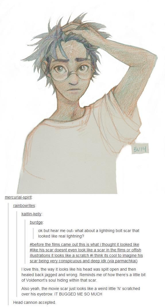 Harry Potter lightning scar. This is an amazingly awesome headcanon! I like this better then the lightning bolt symbol. (art by burdge via tumblr)