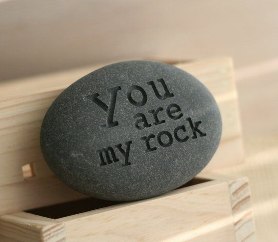 """You are my Rock - READY TO SHIP gift - by SJEngraving. There is no better ways to pay compliment with """"YOU ARE MY ROCK"""" literally carved in stone."""