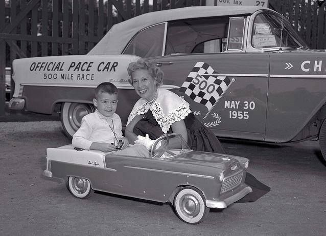 55' Chevy Bel Aire & Dinah Shore With kid in small 55' Chevy Official Pace Car Of The Indy 500 .... May 30th 1955