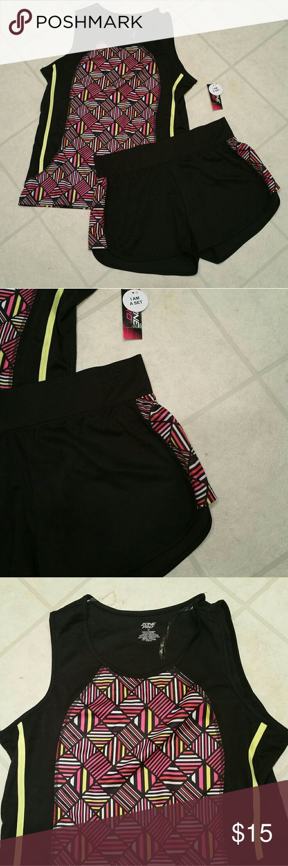 NWT! Women's Zone Pro Pink Workout Set Sz. M & L NWT! Women's Zone Pro Pink Workout Set Sz. M & L   Queue the Kanye workout song with this awesome set. Look your best at the gym this new year.  Color: Black/pink/yellow Sz. M & L AVAIL Type: workout shorts set  Lightweight breathable technology with awesome style. Comes with a tank top and shorts. Zone Pro Other