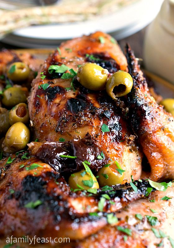 Chicken Marbella - A delicious recipe adapted from classic version featured in The Silver Palate Cookbook. Roasted chicken with a fantastic sweet and sour Mediterranean-inspired flavor! Perfect for a special occasion but easy enough for a family dinner any day of the week!