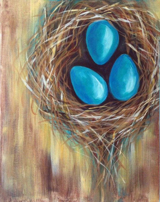 Robin's Nest Painting | http://creativelyuncorked.com