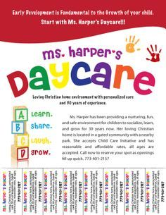 free child care flyer templates - Google Search