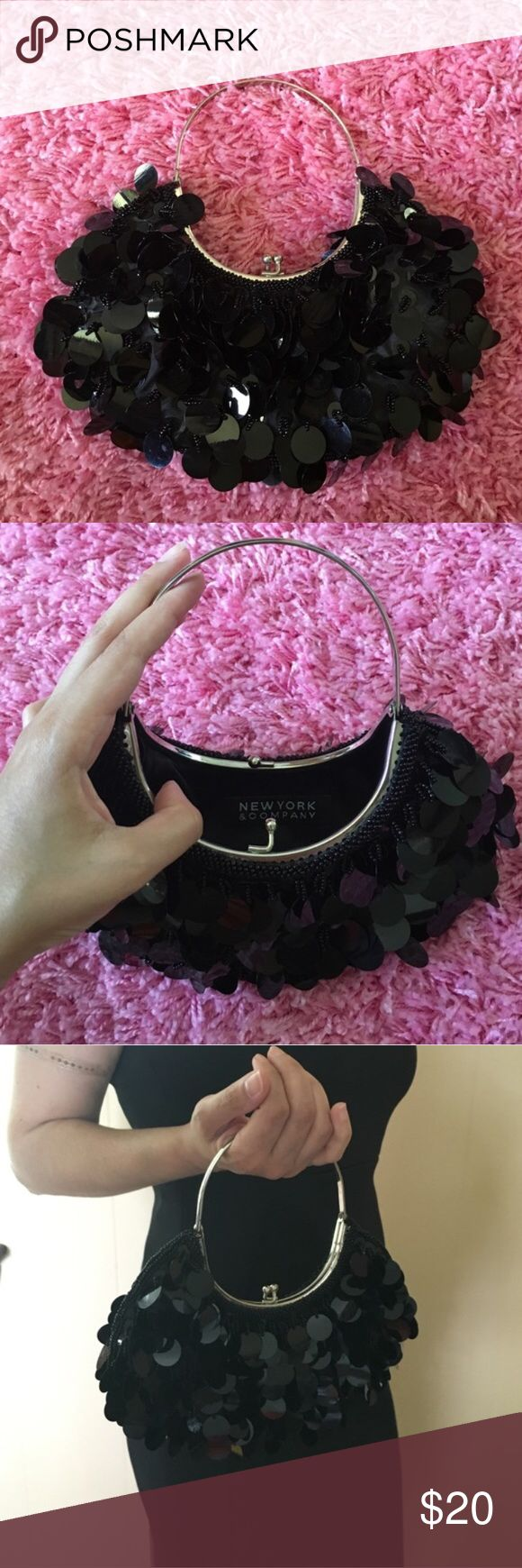 New York & Company Black Formal Clutch Really cute frilly bag for special occasions or a night out. No trades. Open to offers! In great condition! ❤️ New York & Company Bags Clutches & Wristlets
